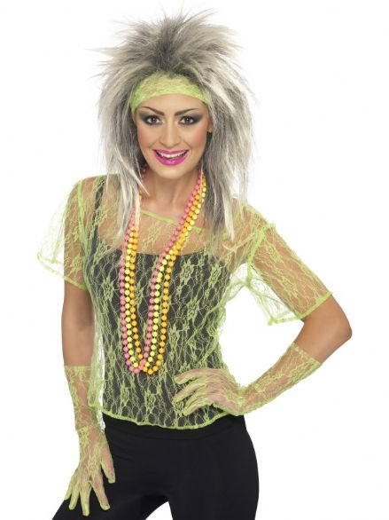 1980's Neon Green Lace Net Vest Set